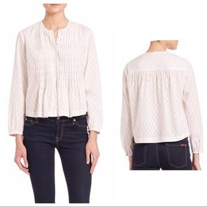 🆕Rebecca Taylor LS light weight pleated Dobby top